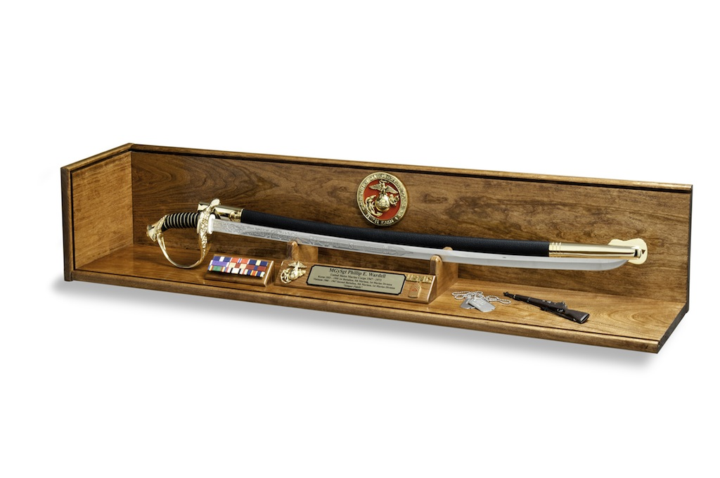 Cherry Military Sword Display and Shadow Box