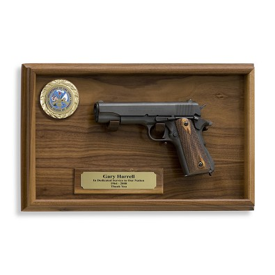 1911 government Model 45 cal Pistol  and Wall Plaque