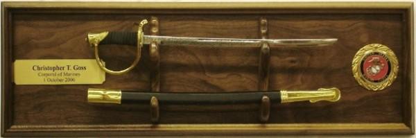 18 Inch Walnut Marine Nco Sword Plaque Military Sword