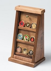 Small Walnut Challenge Coin Displays