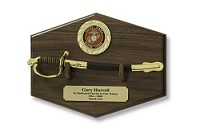 Marine NCO Sword Letter Opener and Display Plaque