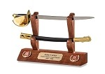 Coast Guard Cutlass Letter Opener and Hardwood Display