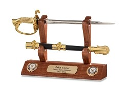 Navy Officer Sword Letter Opener and Display