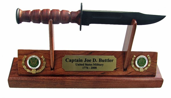 Army  KaBar Knife Letter Opener Display